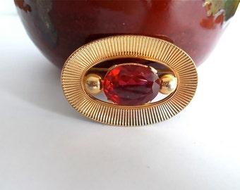 Vintage Brooch Red Rhinestone 12K Gold Filled Signed Winard 1950s