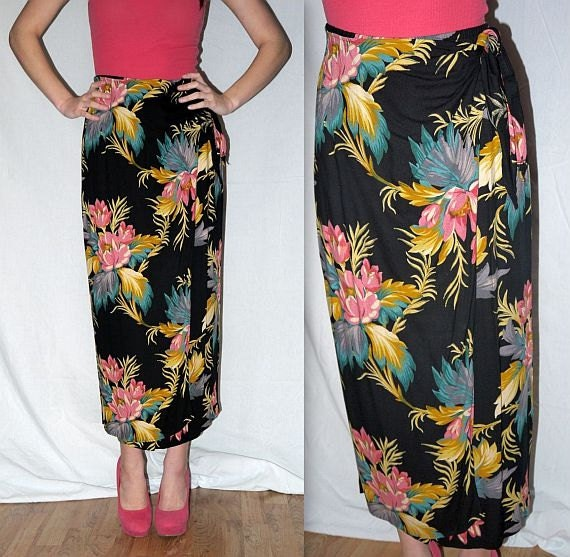 vintage 90s wrap skirt maxi hawaiian floral by