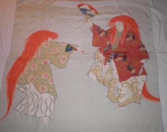 Japanese Silk Scarf Vintage Fan Dancing Fighting Red Hair, Vintage Silk Scarf, Vintage Japanese Scarf, Eighties Scarf, 1980's Scarf