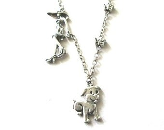 Woman walking dog necklace jewelry antiqued silver lady with dog necklace