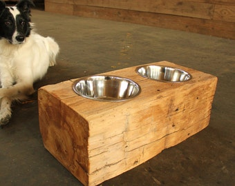 Wood Dog Dish Holder reclaimed barn beam 2 BOWL LARGE