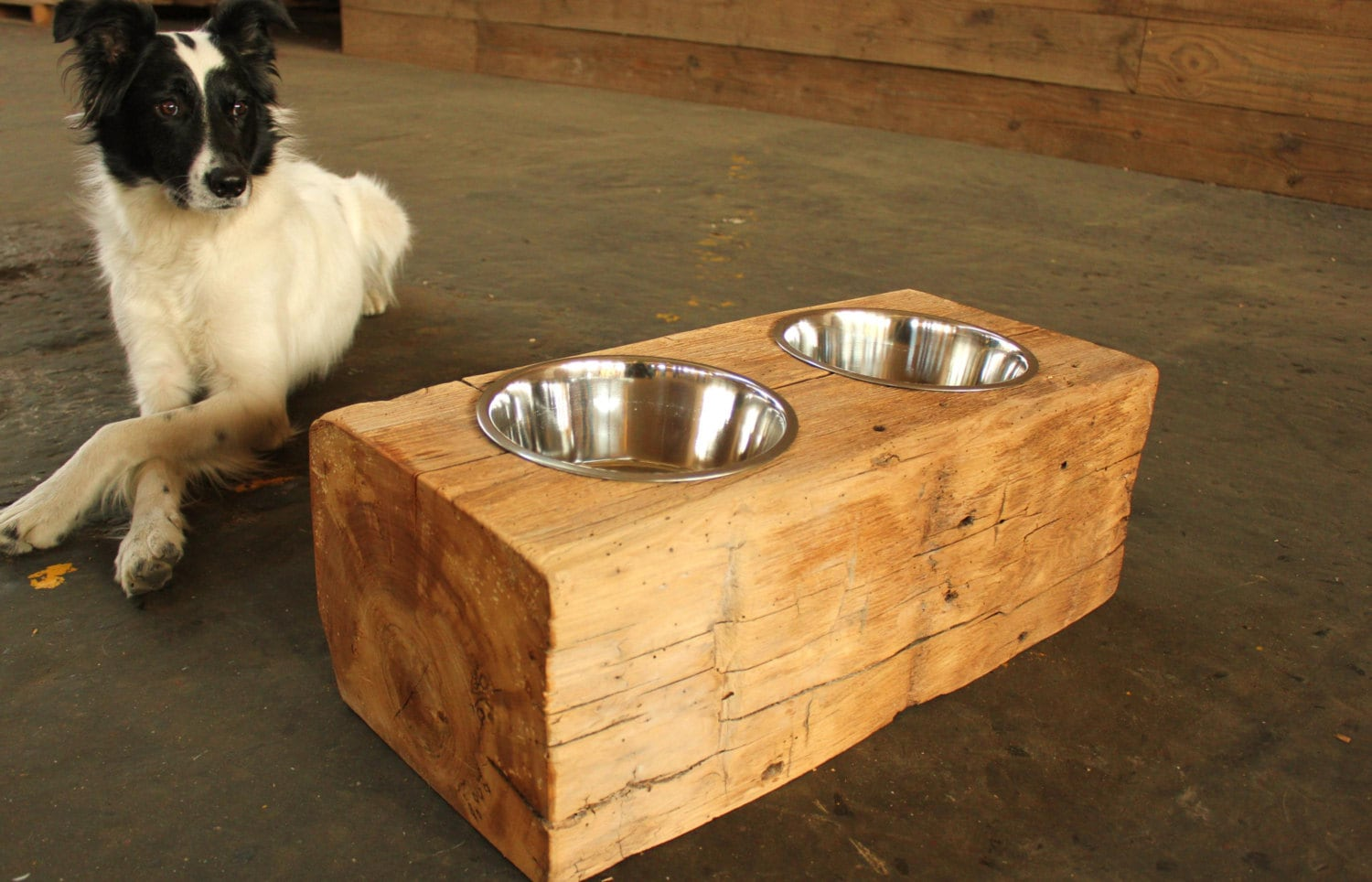 Wood Dog Dish Holder Reclaimed Barn Beam 2 Bowl By
