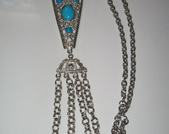 VINTAGE RUNWAY TURQUOISE Color Egyptian Necklace