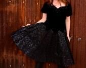 vintage party, prom dress, black velvet with taffeta skirt and rhinestones from Diz Has Neat Stuff