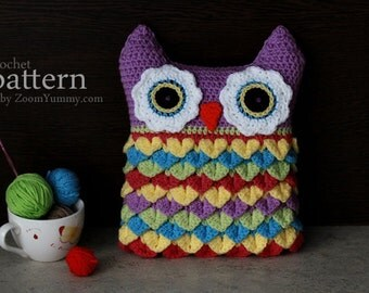 Crochet Pattern - Crochet Owl Cushion With Colorful Feathers (Pattern No. 028) - INSTANT DIGITAL DOWNLOAD