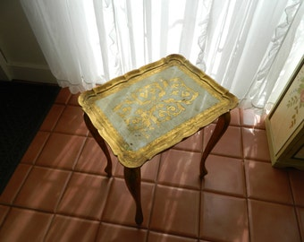 TREASURY ITEM  Vintage Italian Wood Florentine Decorative Table