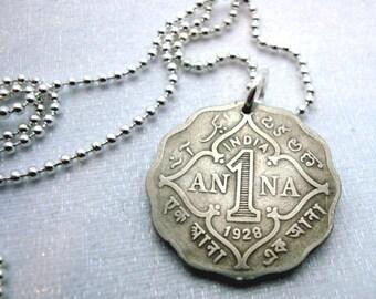 Coin Jewelry - Antique ANNA COIN NECKLACE - Beautiful ornate scallop edge - British India - Anna Anne Ann - name necklace - anna necklace