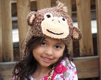 Monkey hat in brown homespun yarn: Newborn through adult sizes available. Made to order