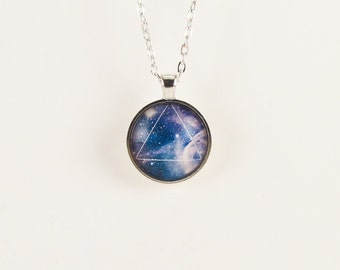 Galaxy Triangle Necklace, Hipster Nebula Jewelry, Geometric Star Pendant .
