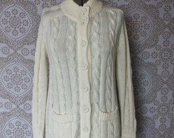 Women's Vintage 1960's 70's Cream Cable Knit Cardigan Sweater M/L