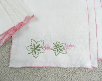 Vintage Ivory Colored Linen Towels and Napkins Pink Green Set of 8