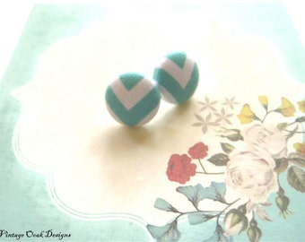 Button Earrings, Button Studs,Fabric Button Earrings,Seafoam Studs,Seafoam Earrings, Button Studs,Chevron Earrings,Bridesmaid Studs,Handmade