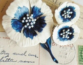 HEDY Flower Brooch Set White & Blue Enamel Clip Earrings