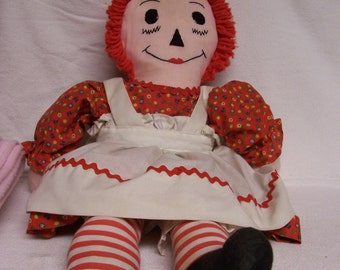 Vintage Raggedy Ann Doll  Hand Made 23 Inch Raggedy Ann Rag Doll Reduced