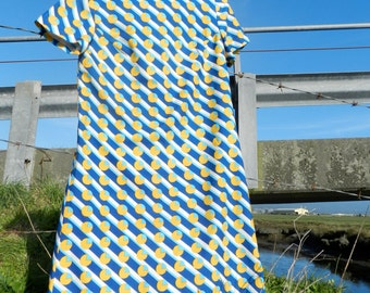 Vintage 60s I.Magnin & Co Blue and Yellow Pac Man A-Line Dress with Scarf