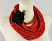 Infinity Scarf,  Red Necklace, Rope Scarf, Crochet Scarf, Red Infinity Scarf with Black Felted Rose Brooch, Circle Scarf