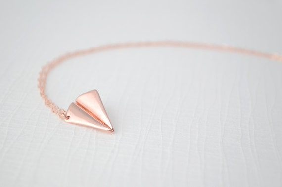 Rose Gold Paper Airplane Necklace - rose gold airplane necklace - 1162