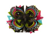 "4"" Brown Turquoise Shocking Pink Lime Stacked Hair Bow"