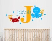 Sealife Wall Decal for Kids Ocean theme room - Octopus wall decal - Bathroom Vinyl Decals - Gender Neutral - Monogram Decal for Nursery