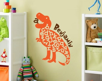 "Dinosaur Alphabet Vinyl Wall Decal - Personalized Wall Art- 16"" x 22"" - Kids Nursery Art - Kids Playroom Decal - ABC Wall Decal"