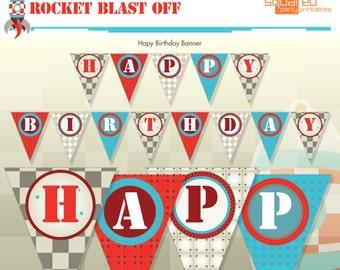 Rocket Ship Spaceship Birthday Party Printable Happy Birthday Banner - DIY Print - Blast Off - Instant Download