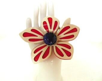 Vintage Brooch Enameled Flower Red, White Blue 50's (item 173)