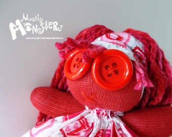 """ZOMBIE BABY Glove Doll... """"Lil Miss Love"""" in Love sparkle print"""