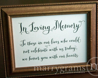 In Loving Memory Sign Table Card - Wedding Reception Seating Signage - Family Photo Table Sign - Matching Numbers Available SS02