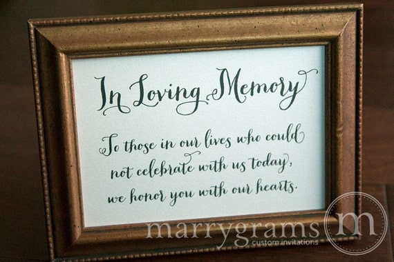 in loving memory sign table card wedding reception seating signage family photo table sign