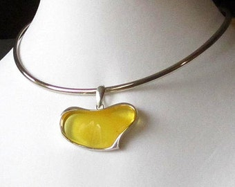 Amber Heart Pendant Sterling Silver Necklace