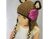 "18"" Doll Clothes - Animal Earflap Beanie - Brown Bear with Violet Purple Flower"