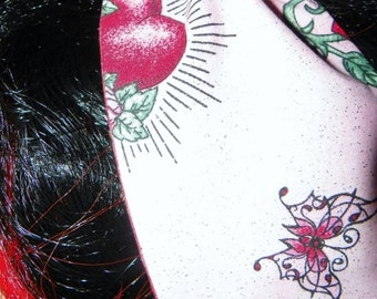 Retro Inspired Reversible Rockabilly Head WrapTattoo Pink Glitter