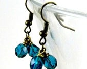 Peacock Teal Earrings  6mm Faceted Deep Turquoise Blue Round Czech Glass Beads in Antique Brass Drop Dangle Earring  Beaded Jewelry  Autumn