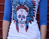Sugar Skull Blue Burnout Baseball tee indian chief headdress Organic Ink Free Shipping