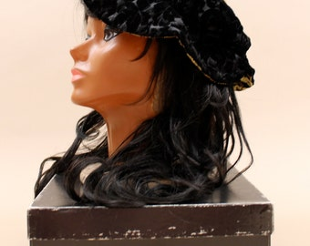 90s does 70s Vtg Floppy Hat VELVET Black DRAGON Brocade Print ASiAN Motif Patchwork Cap / Bucket Grunge Goth Witch