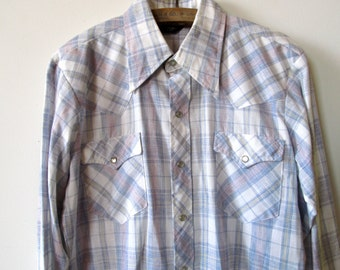 Vintage Mens Western Shirt. Pearl Snap Button Up. Blue, White, Red Plaid. Size Large