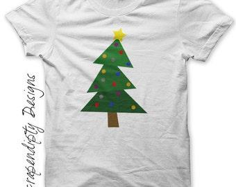 Christmas Tree Iron on Shirt PDF - Christmas Iron on Transfer / Christmas Shirt / Fabric Transfer / Infant Boys Clothes / DIY Tshirt IT138-P
