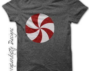 Peppermint Iron on Shirt PDF - Christmas Iron on Transfer / Christmas Printable / Kids Girls Clothing Top / DIY Infant Baby Clothes IT112
