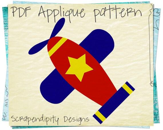Airplane Applique Pattern - Baby Applique Template / DIY Infant Airplane Shirt / Kids Baby Nursery Blanket / Airplane Sewing Pattern AP127-D