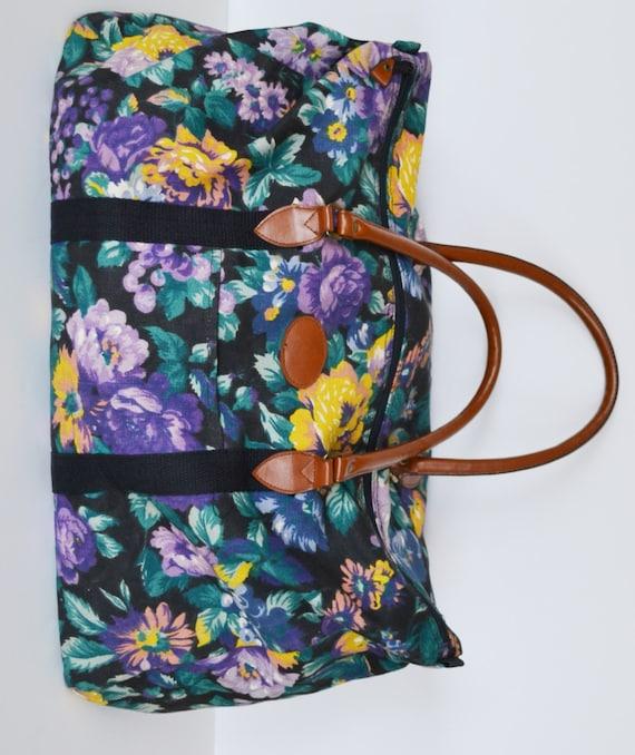 Vintage Floral Print Duffle Bag 1980u0026#39;s Gitano Overnight