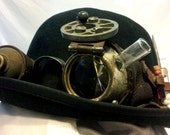 Steampunk GOGGLES with bowler hat - OOAK