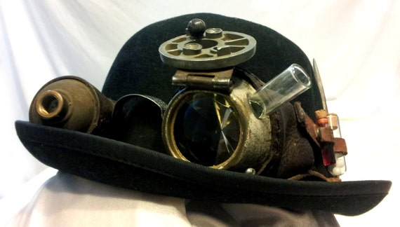Steampunk GOGGLES with bowler hat OOAK by Emprisium on Etsy