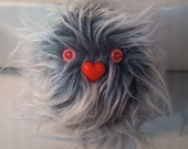 """Furry Monster Plush - 4"""" Grey and White Coodle"""