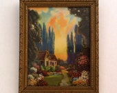 SALE Framed Colorful Cottage Miniature Print 1940's
