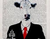 Illustration RECEPTION, original mixed media,art print poster acrylic painting cow dictionary gun