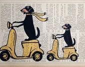 THE TRIP  print poster mixed media painting illustration dachshund on moped doxie on vespa gift dog