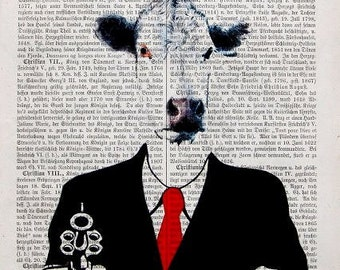 GUN COW RECEPTION, original mixed media,art print poster acrylic dictionary art painting wall decor fashion security