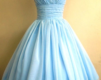 50s style dress, Simple and elegant. Light Sky Blue chiffon overlay, flattering for all sizes DM