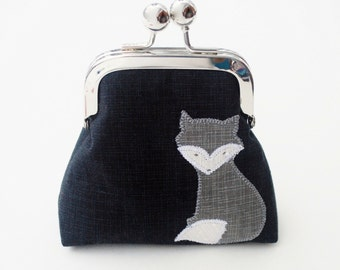 Grey Fox Coin Purse, Small Kiss Lock Snap Change Pouch, Applique Fox, Charcoal and Red