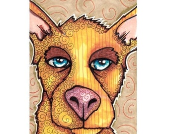 Original ACEO Yellow Dog, Pen and Ink